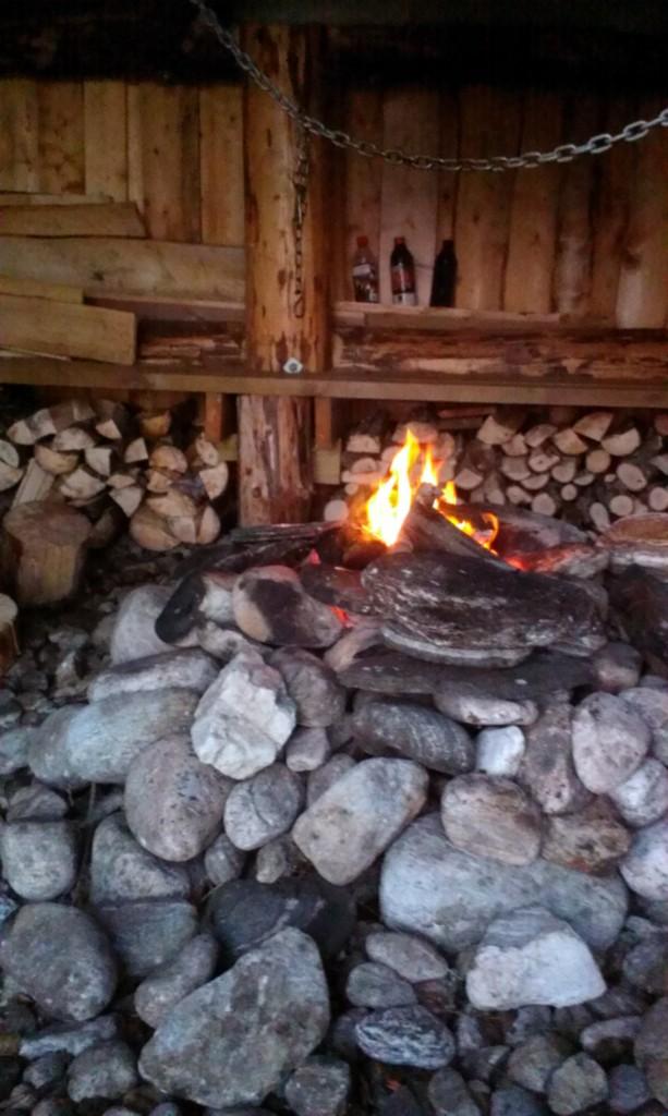 Steinvei og Tvenningsfolk hugget ved og fylte opp i gapahuken. Det har minket bra siden januar, så det må kanskje gjøres ei ny økt snart.