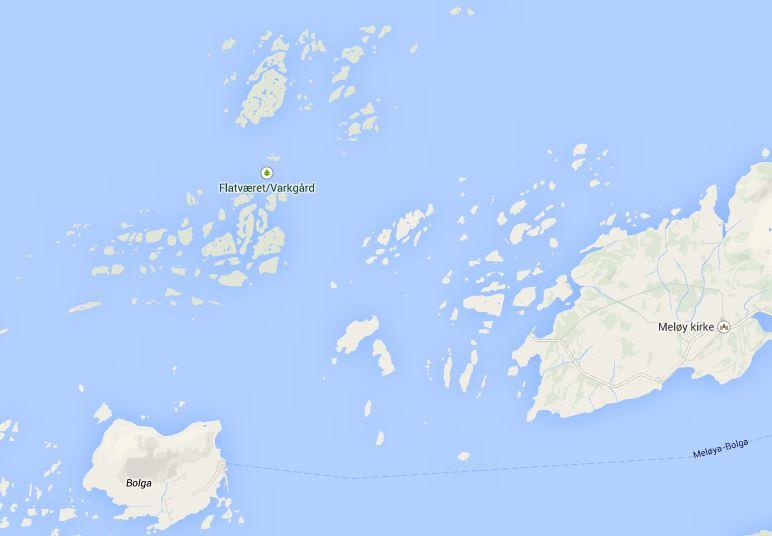 Kart over Meløyvær med naturreservatet i nord-vestre hjørne