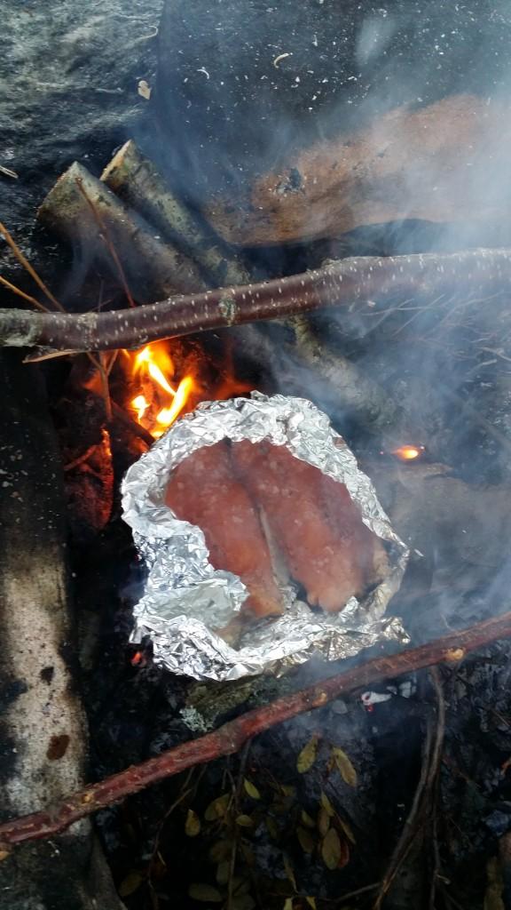 Fisken ble grillet på bålet.